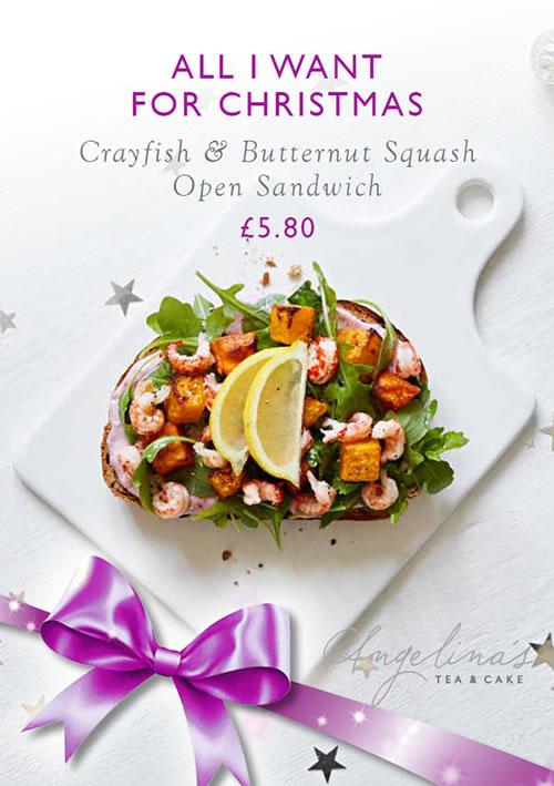 Crayfish & butternut squash open sandwich